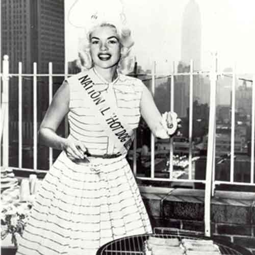 Jayne Mansfield - Before she got her big break in Hollywood, Masfield won a featured role in 1950 as Miss Hot Dog