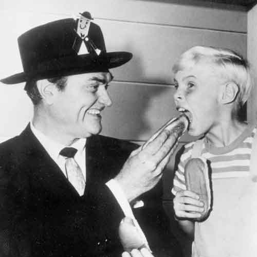 Red Skelton and Jay North. North is best remembered for his role as Dennis in the 1950s Dennis the Menace TV Series. Skelton is America's most famous clown.