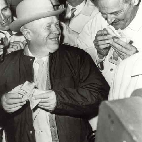 Former Soviet Premeir Nikita Kruschev enjoying a hot dog in Des Moines, Iowa during his 1959 tour of the United States.